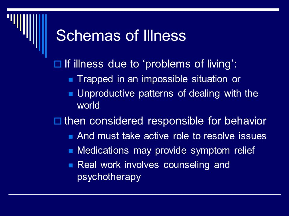Schemas of Illness  If illness due to 'problems of living': Trapped in an impossible situation or Unproductive patterns of dealing with the world  then considered responsible for behavior And must take active role to resolve issues Medications may provide symptom relief Real work involves counseling and psychotherapy
