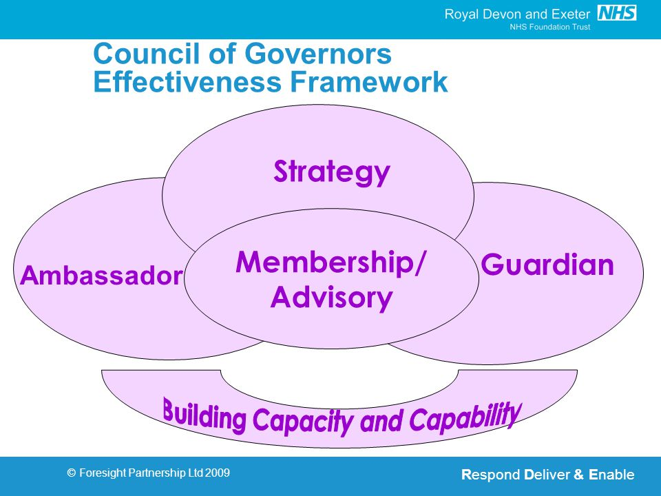 Respond Deliver & Enable © Foresight Partnership Ltd 2009 Membership/ Advisory Strategy Ambassador Guardian Council of Governors Effectiveness Framework