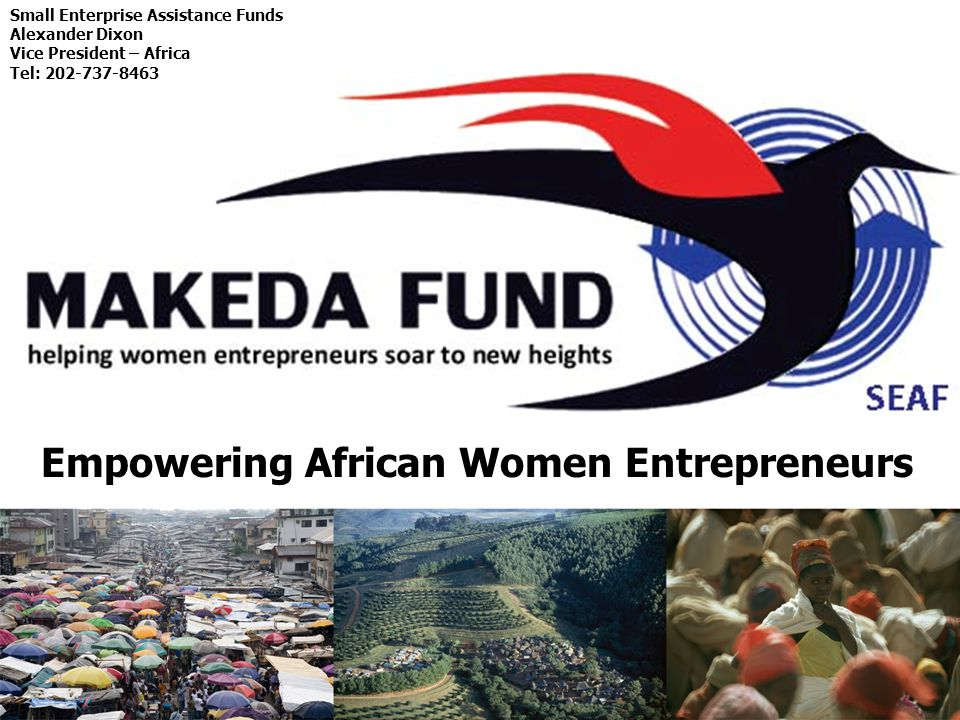 Small Enterprise Assistance Funds Alexander Dixon Vice President – Africa Tel: 202-737-8463 Empowering African Women Entrepreneurs