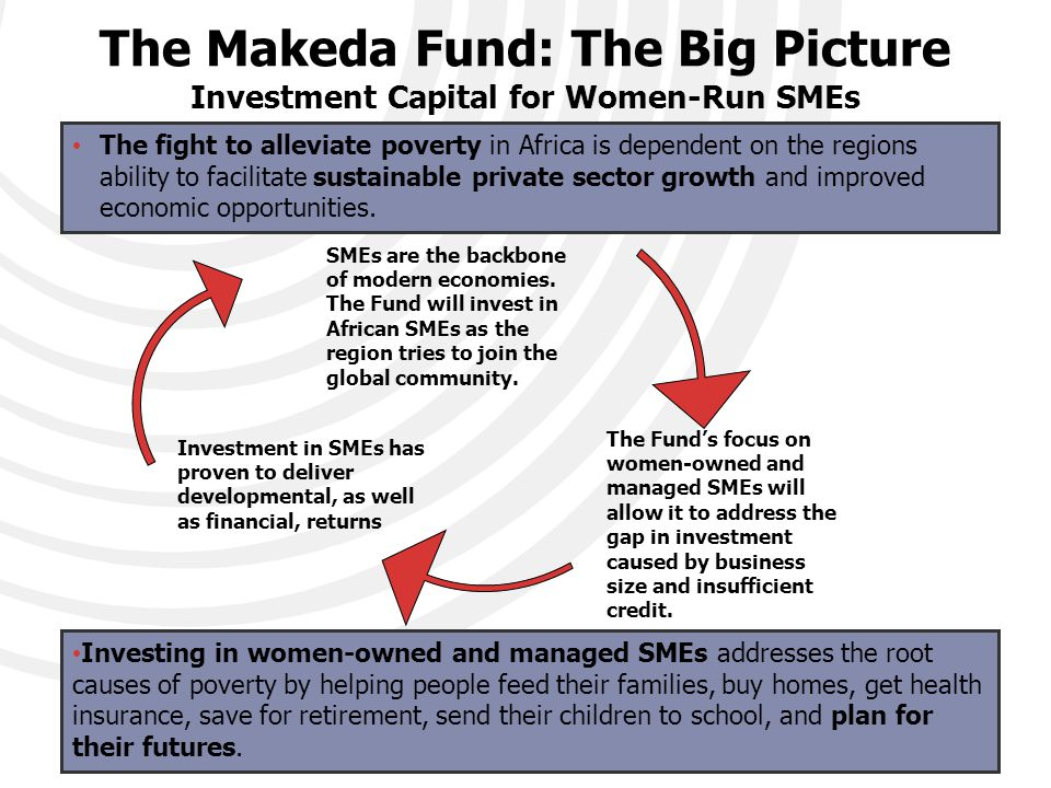 The Makeda Fund: The Big Picture Investment Capital for Women-Run SMEs SMEs are the backbone of modern economies.