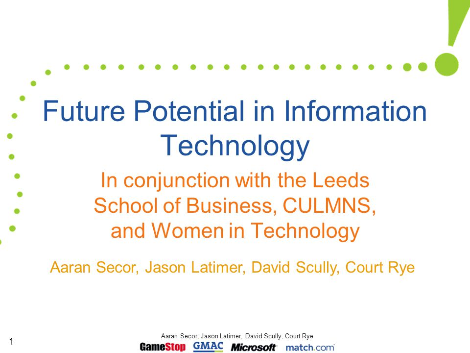 1 Aaran Secor, Jason Latimer, David Scully, Court Rye Future Potential in Information Technology In conjunction with the Leeds School of Business, CUL