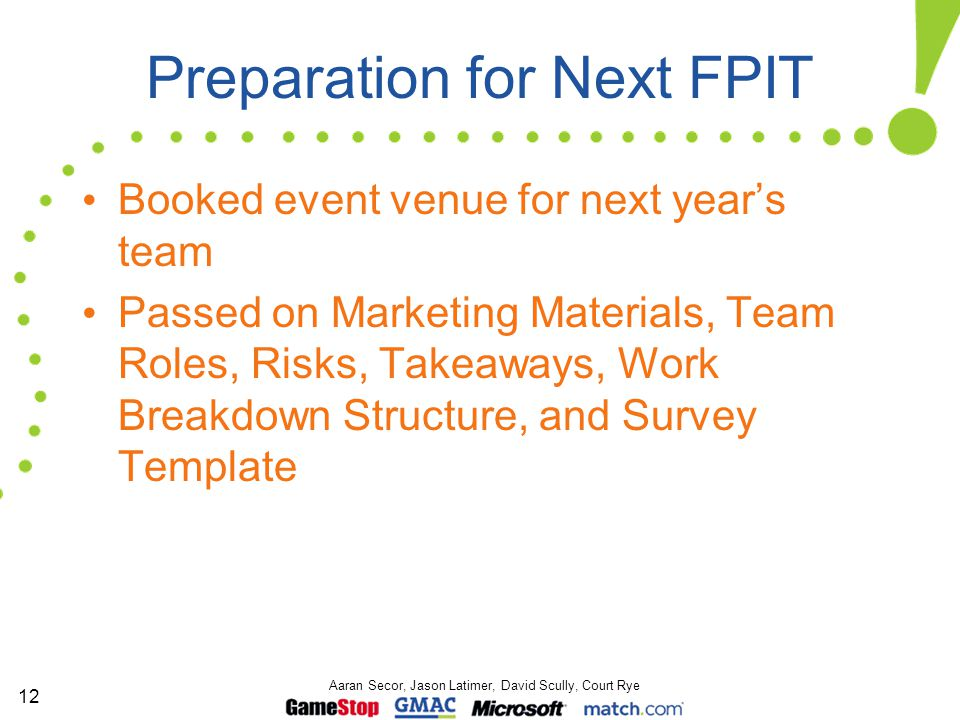 12 Aaran Secor, Jason Latimer, David Scully, Court Rye Preparation for Next FPIT Booked event venue for next year's team Passed on Marketing Materials