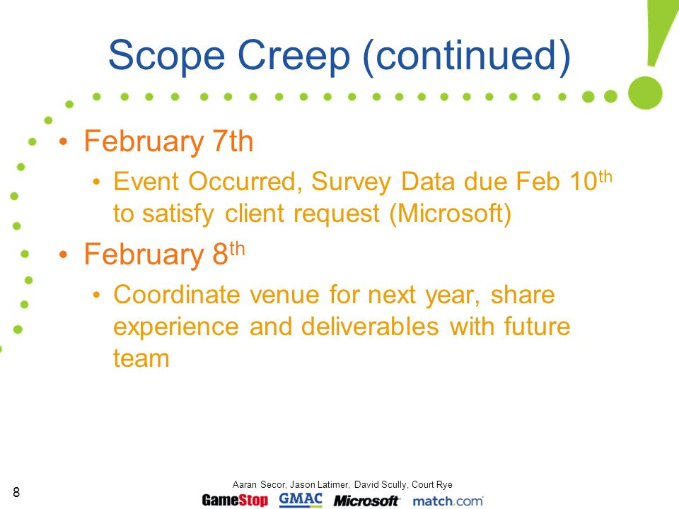 8 Aaran Secor, Jason Latimer, David Scully, Court Rye Scope Creep (continued) February 7th Event Occurred, Survey Data due Feb 10 th to satisfy client request (Microsoft) February 8 th Coordinate venue for next year, share experience and deliverables with future team