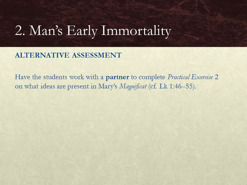 ALTERNATIVE ASSESSMENT Have the students work with a partner to complete Practical Exercise 2 on what ideas are present in Mary's Magnificat (cf.