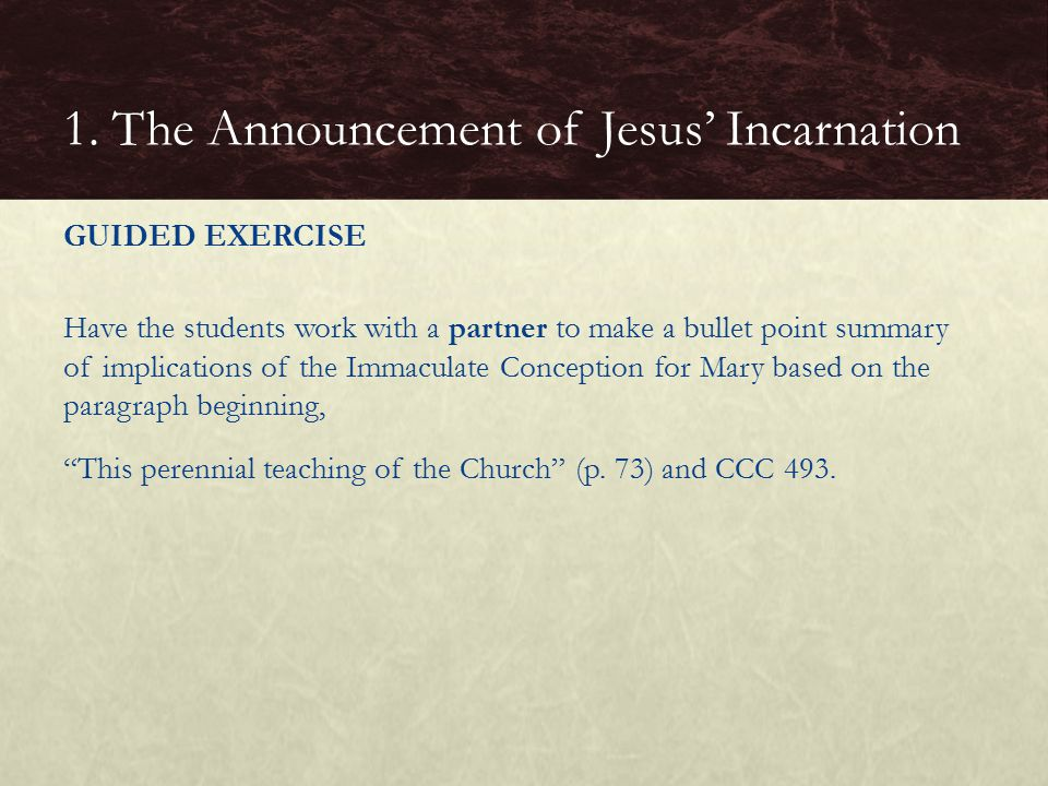 GUIDED EXERCISE Have the students work with a partner to make a bullet point summary of implications of the Immaculate Conception for Mary based on the paragraph beginning, This perennial teaching of the Church (p.