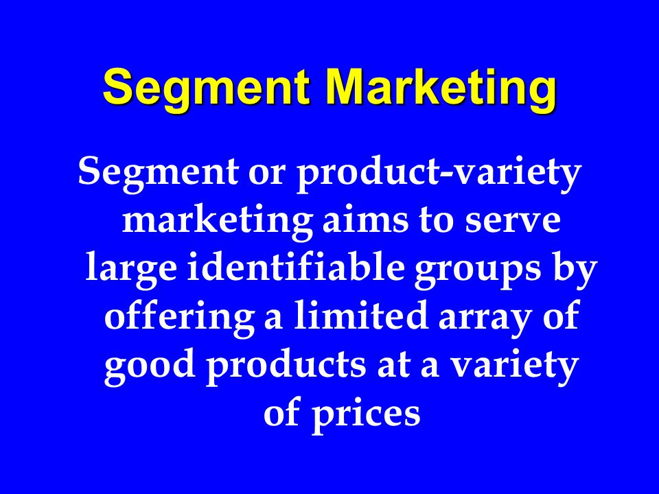 Target Marketing Target (both niche and local) marketing aims to please identifiable clusters of customers by providing products that are carefully tailored to match group means and tastes