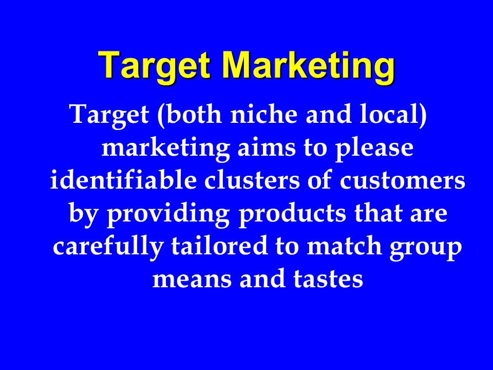 Individual Marketing Individual or marketing aims to satisfy individual customers by providing products that are precisely tailored to match individual means and tastes