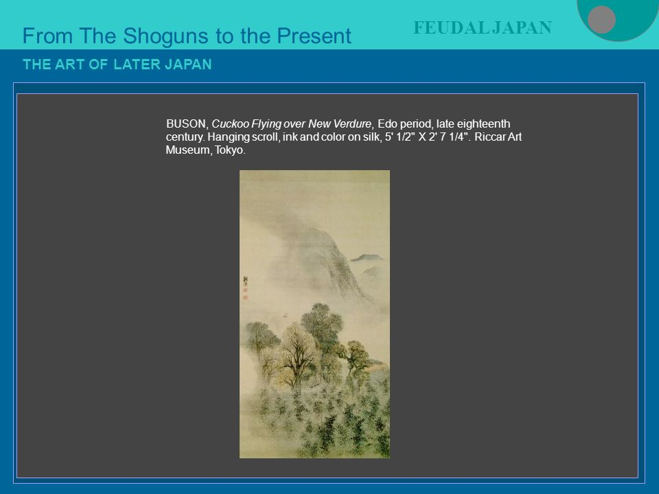 Figure 21-4 From The Shoguns to the Present FEUDAL JAPAN THE ART OF LATER JAPAN BUSON, Cuckoo Flying over New Verdure, Edo period, late eighteenth century.