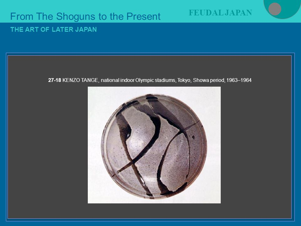 Figure 21-4 From The Shoguns to the Present FEUDAL JAPAN THE ART OF LATER JAPAN 27-18 KENZO TANGE, national indoor Olympic stadiums, Tokyo, Showa period, 1963–1964