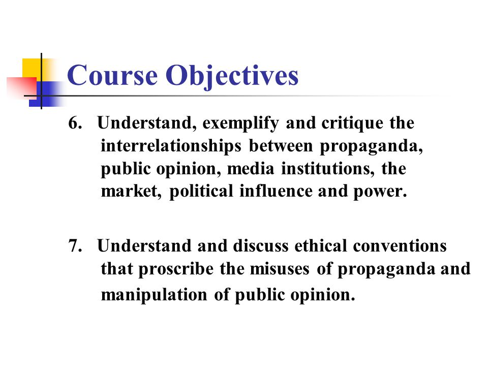 Course Objectives 6.