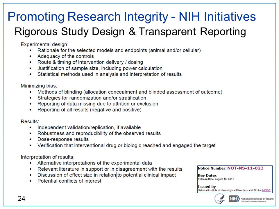 Promoting Research Integrity - NIH Initiatives Rigorous Study Design & Transparent Reporting 24