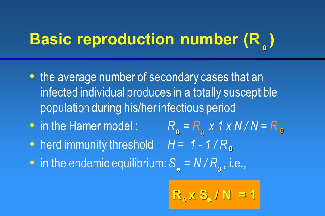 Basic reproduction number (R ) the average number of secondary cases that an infected individual produces in a totally susceptible population during his/her infectious period in the Hamer model : R = R x 1 x N / N = R herd immunity threshold H = 1 - 1 / R in the endemic equilibrium: S = N / R, i.e., 0 0 0 0 0e e0 0 R x S / N = 1 0 e