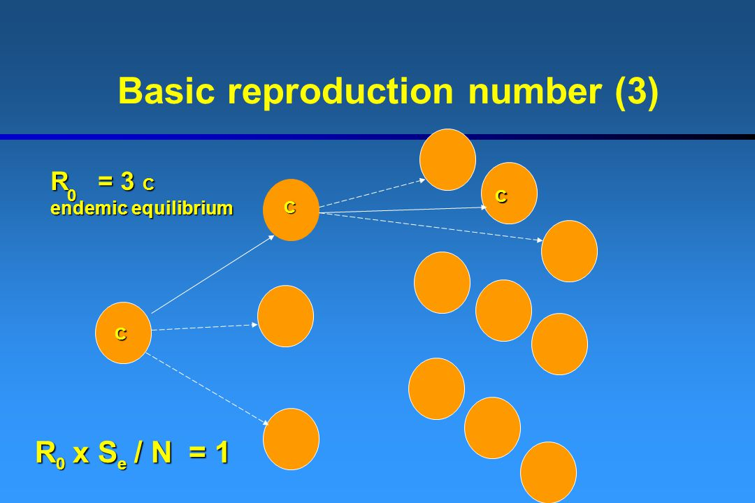 Basic reproduction number (3) R = 3 C endemic equilibrium 0 R x S / N = 1 0e C C C