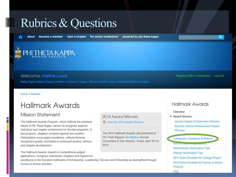 Rubrics & Questions