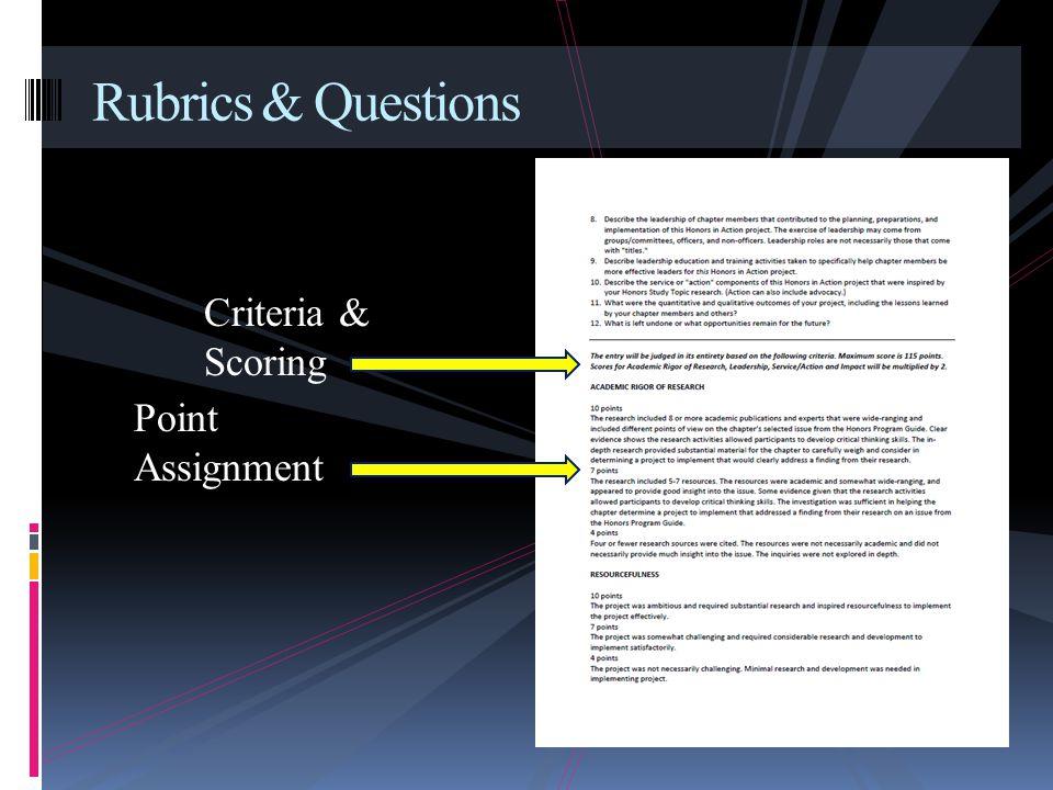 Rubrics & Questions Criteria & Scoring Point Assignment