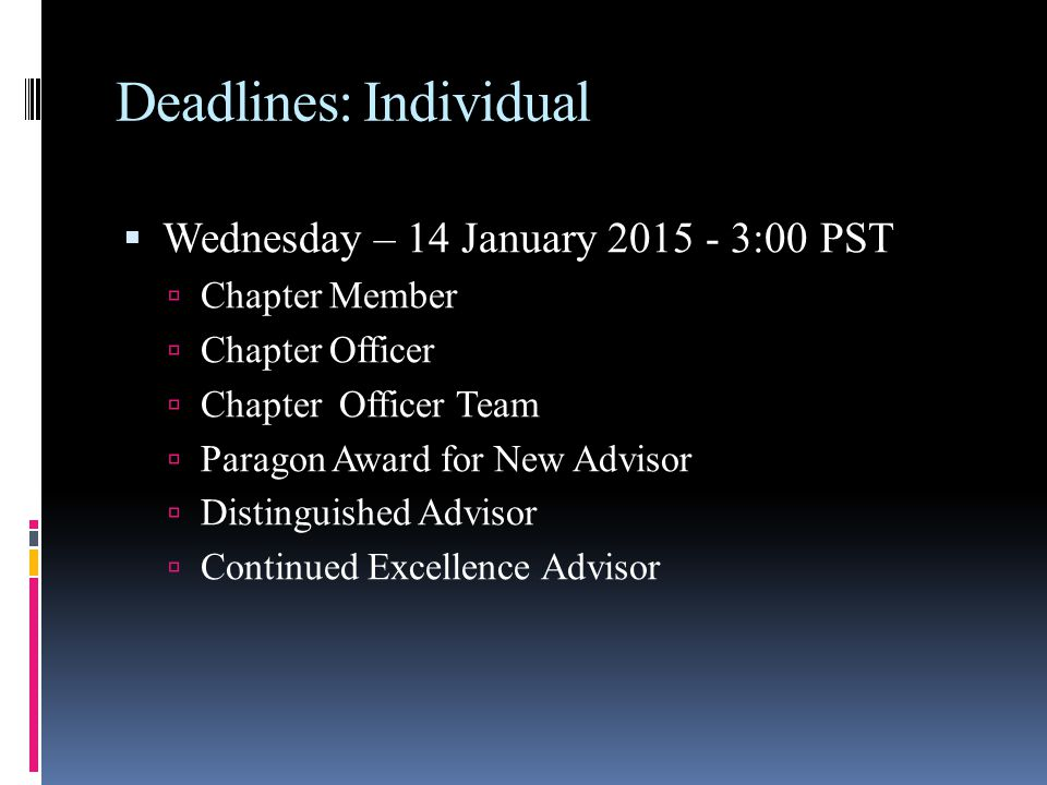 Deadlines: Individual  Wednesday – 14 January :00 PST  Chapter Member  Chapter Officer  Chapter Officer Team  Paragon Award for New Advisor  Distinguished Advisor  Continued Excellence Advisor