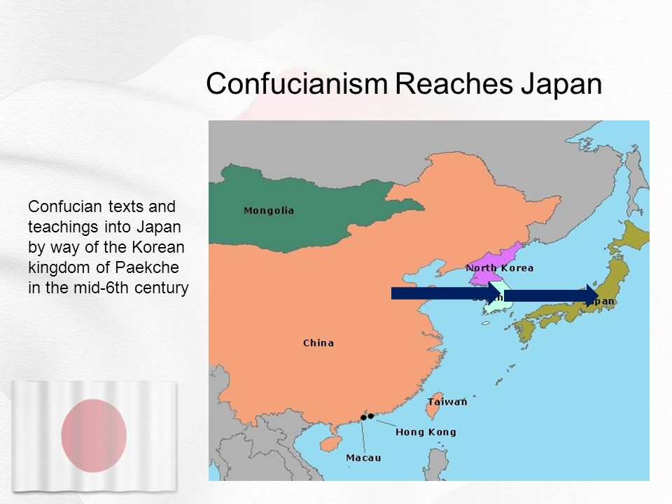 Confucianism Reaches Japan Confucian texts and teachings into Japan by way of the Korean kingdom of Paekche in the mid-6th century