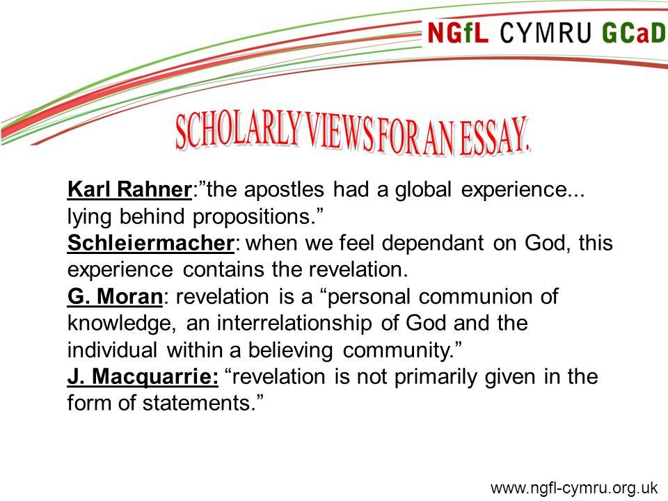 www.ngfl-cymru.org.uk Karl Rahner: the apostles had a global experience...