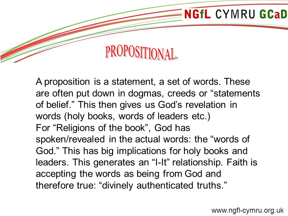 www.ngfl-cymru.org.uk A proposition is a statement, a set of words.