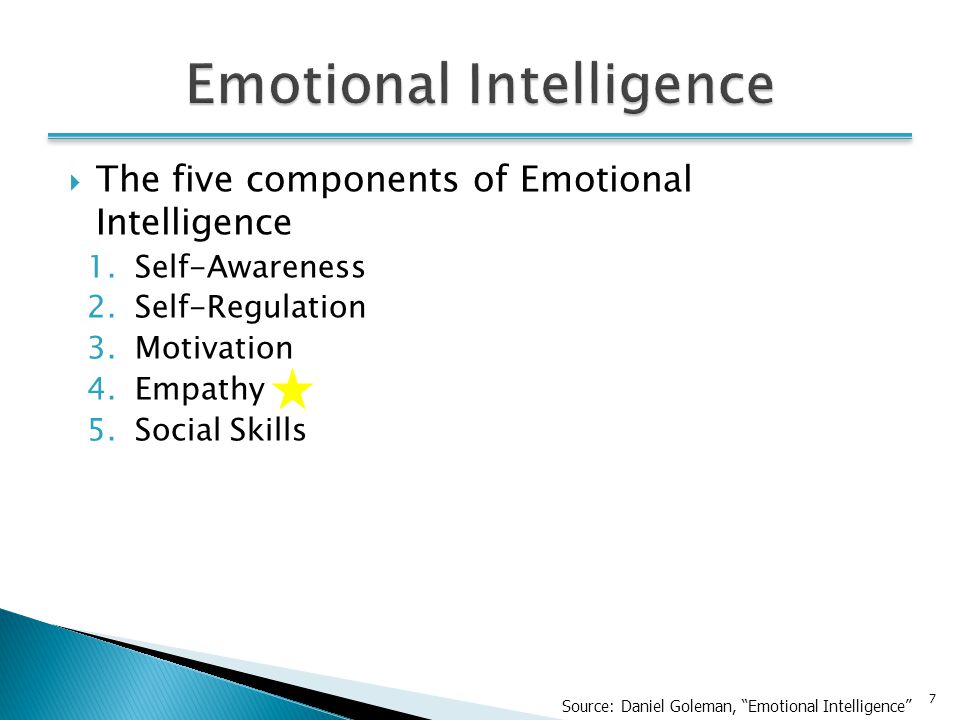 7  The five components of Emotional Intelligence 1.Self-Awareness 2.Self-Regulation 3.Motivation 4.Empathy 5.Social Skills Source: Daniel Goleman, Emotional Intelligence