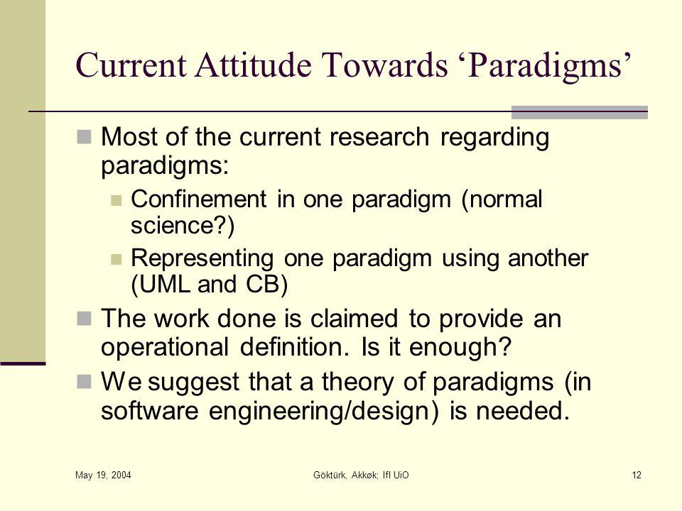 May 19, 2004 Göktürk, Akkøk; IfI UiO12 Current Attitude Towards 'Paradigms' Most of the current research regarding paradigms: Confinement in one parad