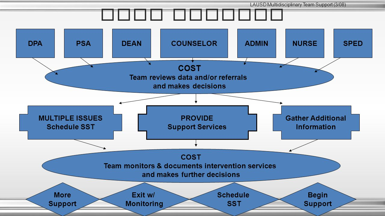 COST PROCESS COST Team reviews data and/or referrals and makes decisions PROVIDE Support Services MULTIPLE ISSUES Schedule SST Gather Additional Information COST Team monitors & documents intervention services and makes further decisions More Support Exit w/ Monitoring Schedule SST Begin Support DPADEANNURSEPSACOUNSELORADMINSPED LAUSD Multidisciplinary Team Support (3/08)