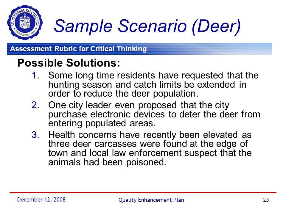 Assessment Rubric for Critical Thinking December 12, 2008 Quality Enhancement Plan23 Sample Scenario (Deer) Possible Solutions: 1.Some long time resid