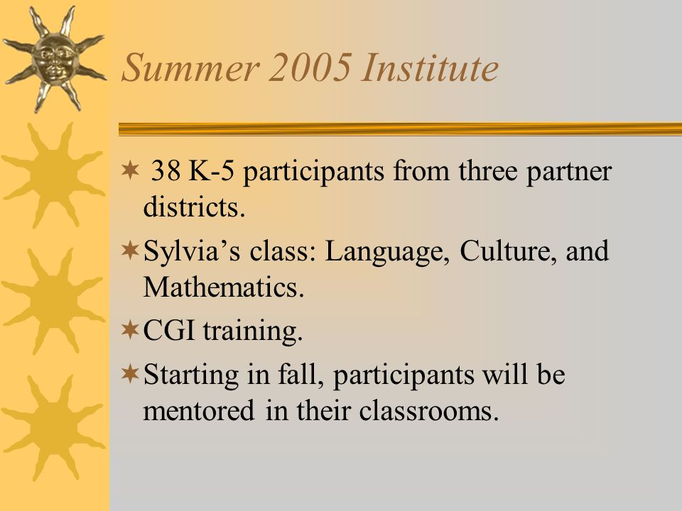 Summer 2005 Institute  38 K-5 participants from three partner districts.