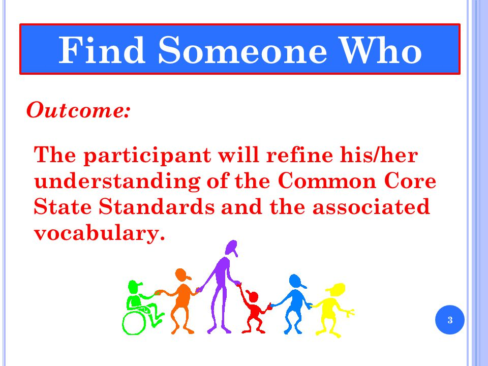 Find Someone Who Outcome: The participant will refine his/her understanding of the Common Core State Standards and the associated vocabulary. 3