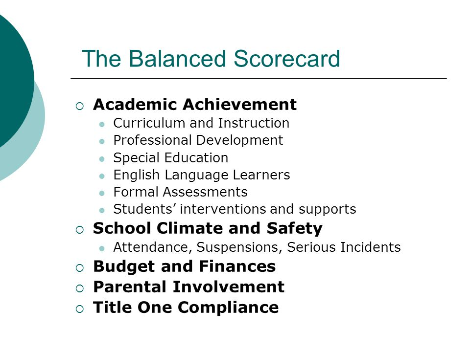 The Balanced Scorecard  Academic Achievement Curriculum and Instruction Professional Development Special Education English Language Learners Formal Assessments Students' interventions and supports  School Climate and Safety Attendance, Suspensions, Serious Incidents  Budget and Finances  Parental Involvement  Title One Compliance