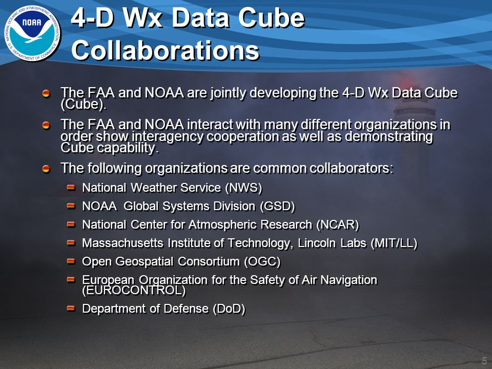 5 4-D Wx Data Cube Collaborations The FAA and NOAA are jointly developing the 4-D Wx Data Cube (Cube).
