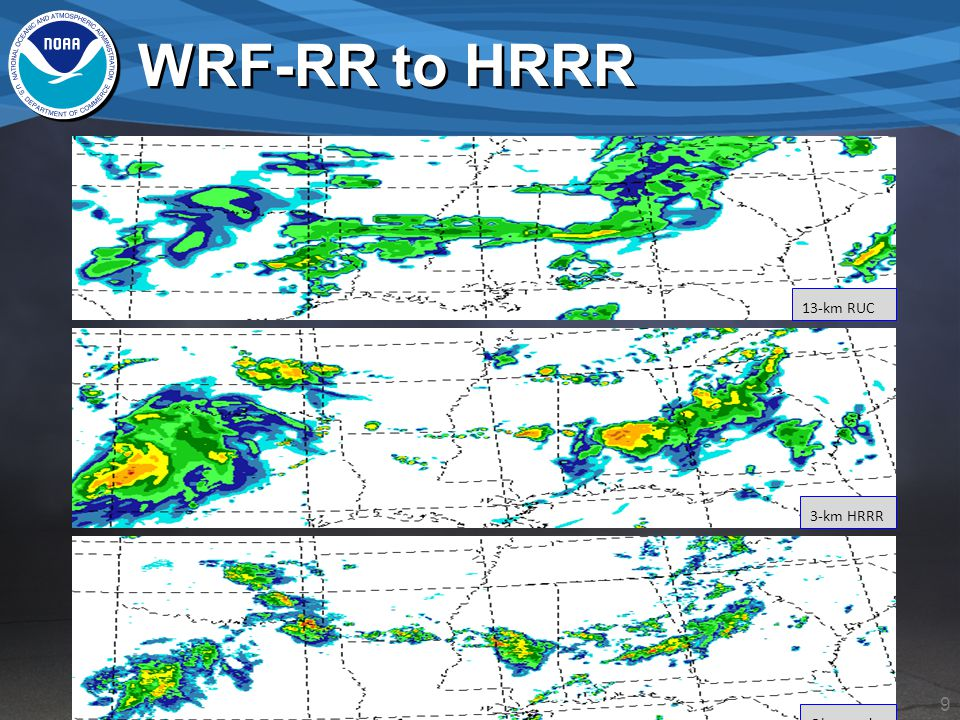 9 WRF-RR to HRRR Observed 13-km RUC 3-km HRRR