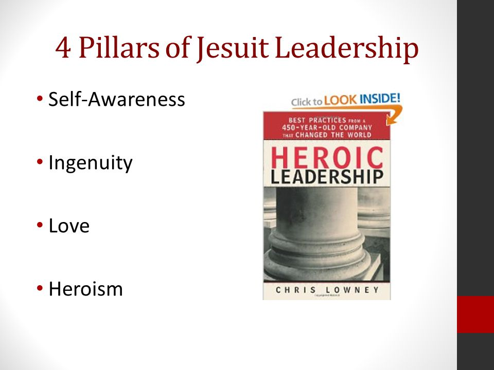 Ignatian Leadership at Saint Joseph's University Ignatian leadership is a transformational process whereby an individual or group assists another individual or group in discerning God's will in a specific context, and facilitates its implementation, always seeking the magis.