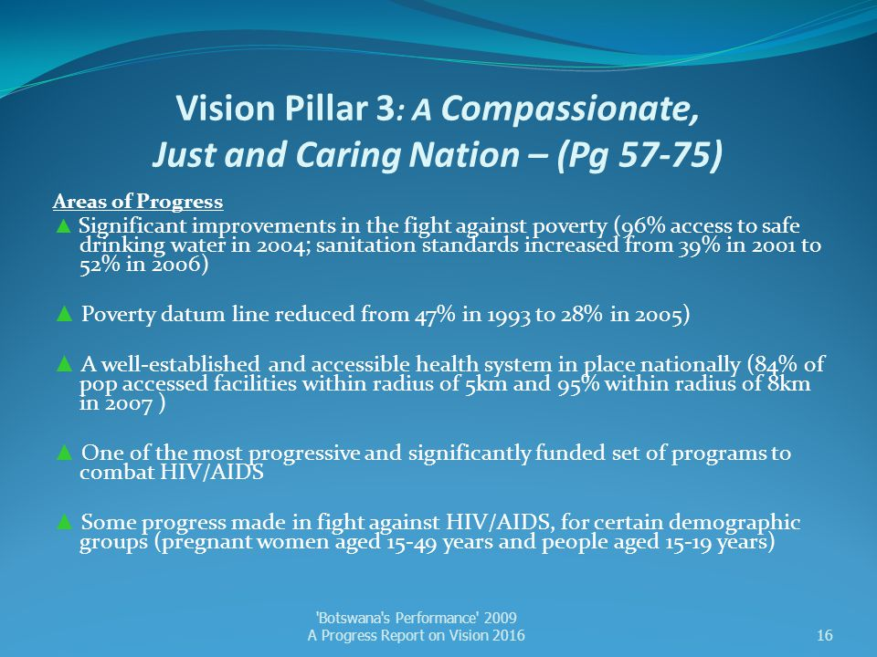 Vision Pillar 3 : A Compassionate, Just and Caring Nation – (Pg 57-75) Areas of Progress ▲ Significant improvements in the fight against poverty (96%