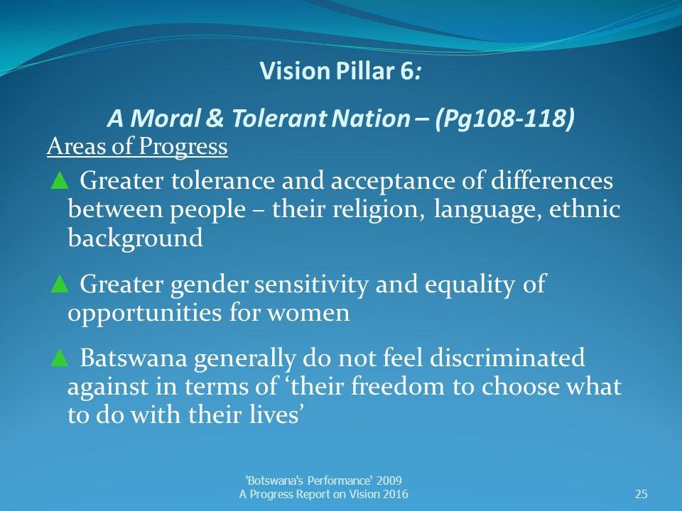 Vision Pillar 6: A Moral & Tolerant Nation – (Pg108-118) Areas of Progress ▲ Greater tolerance and acceptance of differences between people – their re
