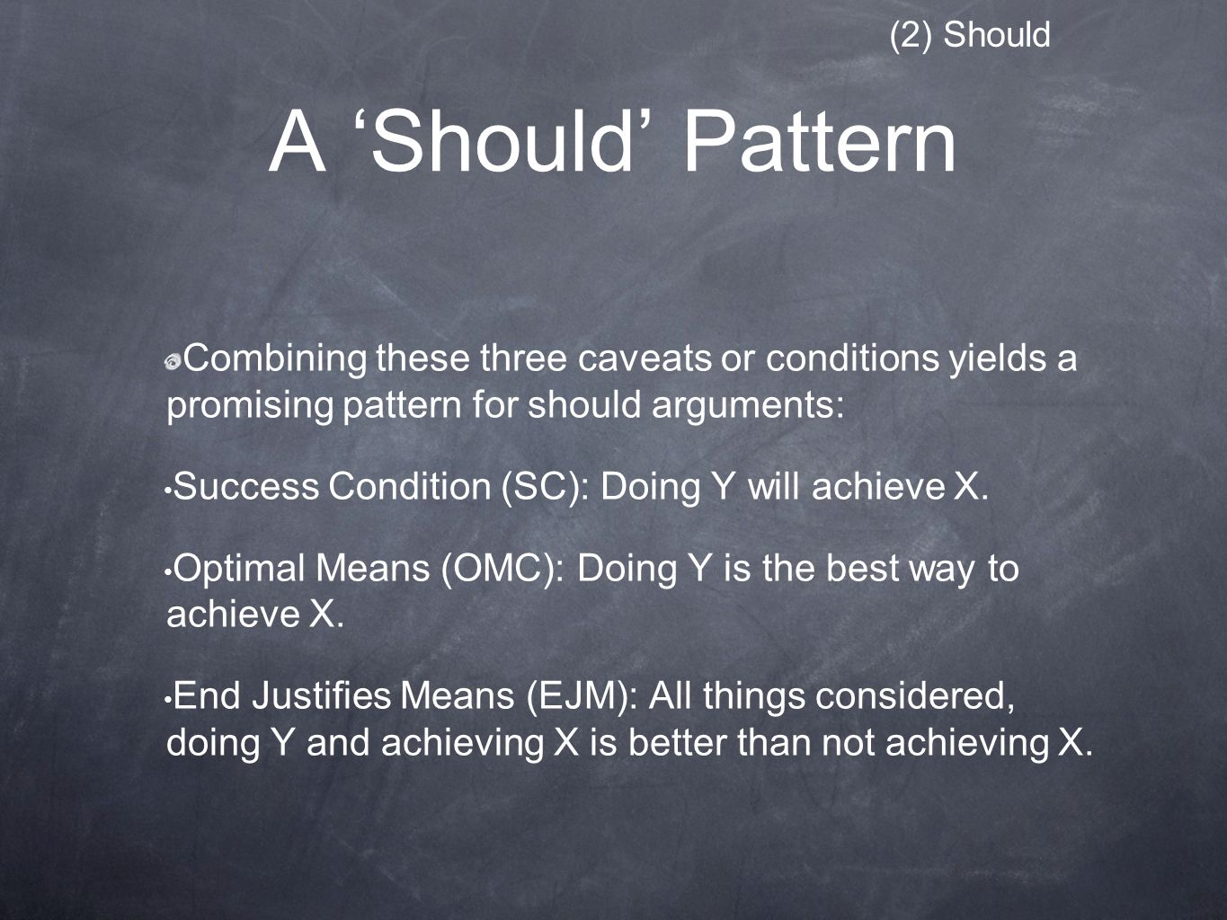 A 'Should' Pattern Combining these three caveats or conditions yields a promising pattern for should arguments: Success Condition (SC): Doing Y will achieve X.