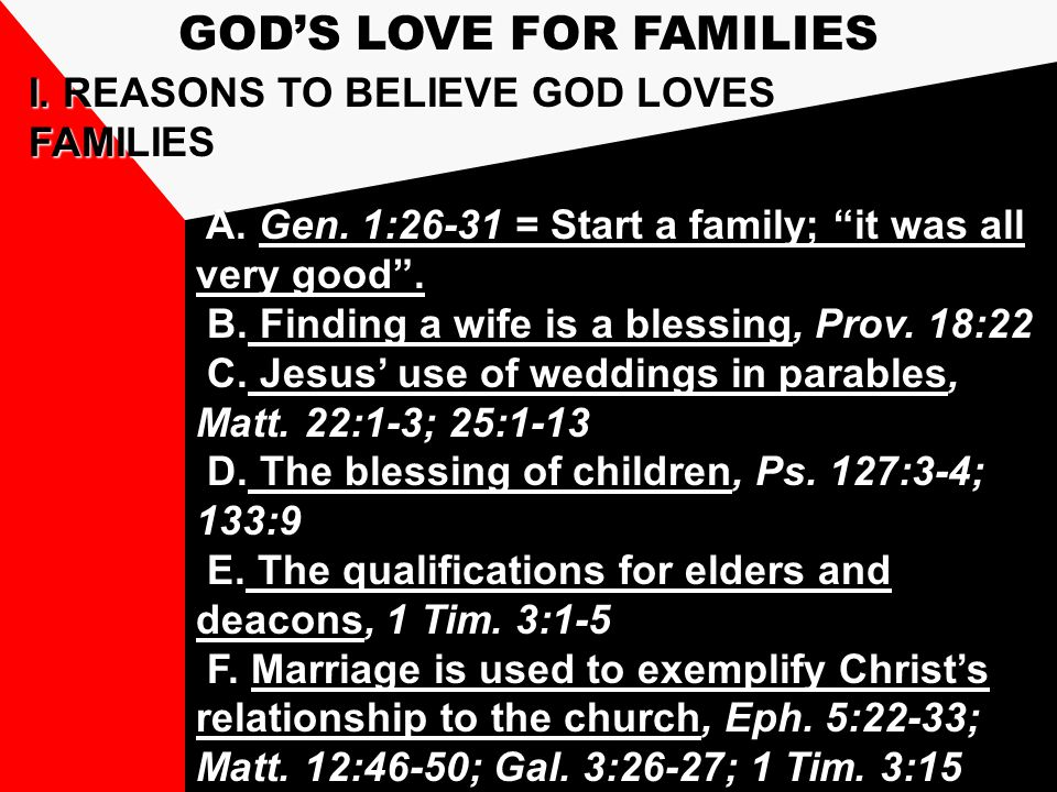 I. REASONS TO BELIEVE GOD LOVES FAMILIES A. Gen.
