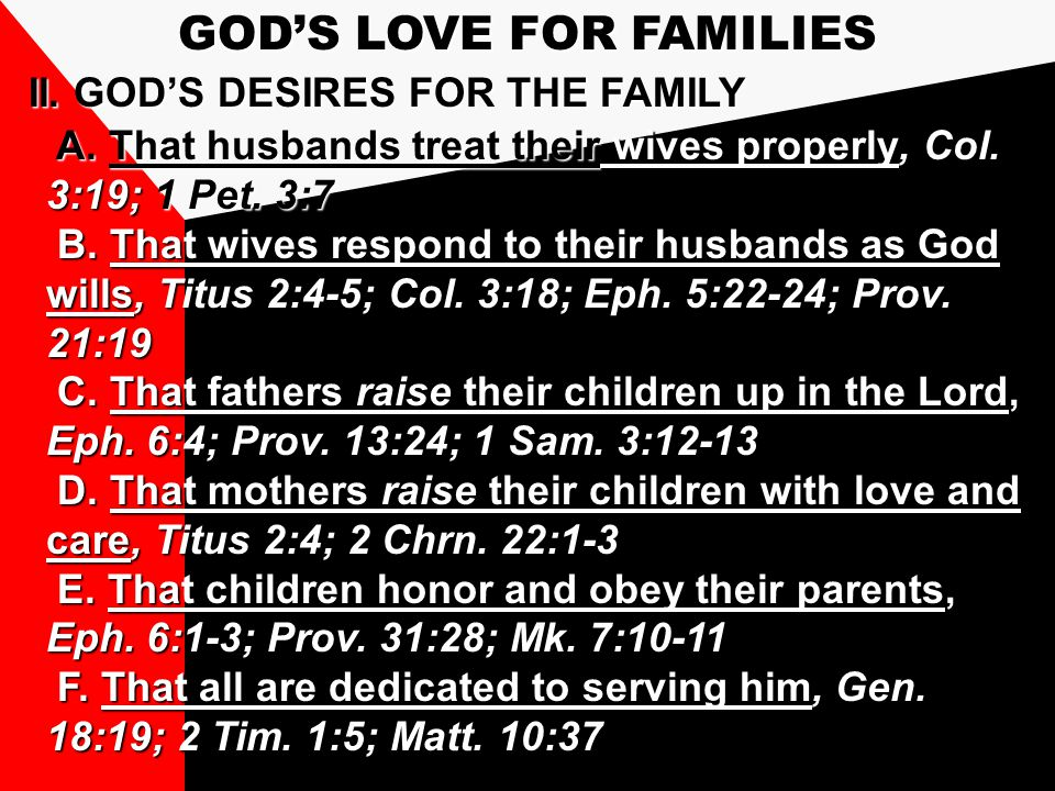 GOD'S LOVE FOR FAMILIES II. GOD'S DESIRES FOR THE FAMILY A.