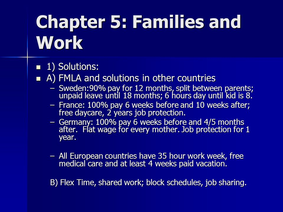 Chapter 5: Families and Work 1) Solutions: 1) Solutions: A) FMLA and solutions in other countries A) FMLA and solutions in other countries –Sweden:90% pay for 12 months, split between parents; unpaid leave until 18 months; 6 hours day until kid is 8.