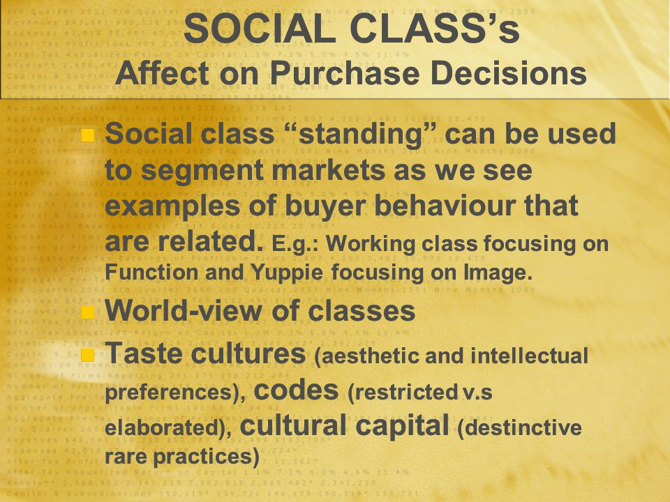 SOCIAL CLASS's Affect on Purchase Decisions Social class standing can be used to segment markets as we see examples of buyer behaviour that are related.