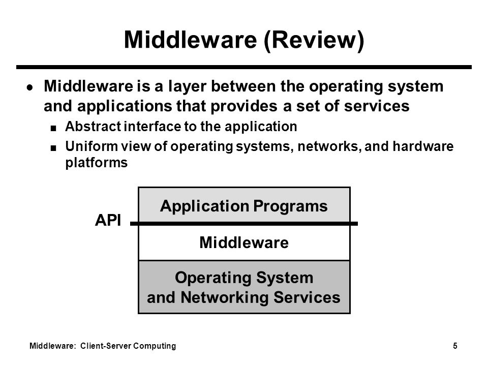 Middleware: Client-Server Computing 5 Middleware (Review) ● Middleware is a layer between the operating system and applications that provides a set of services ■ Abstract interface to the application ■ Uniform view of operating systems, networks, and hardware platforms Operating System and Networking Services Middleware Application Programs API
