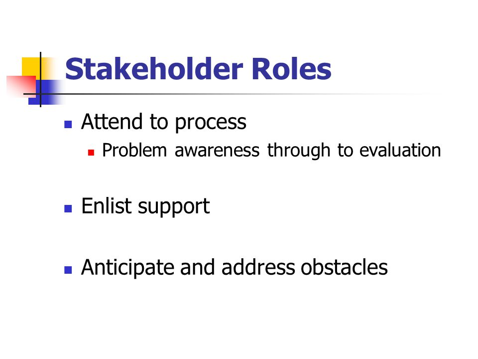Stakeholder Roles Attend to process Problem awareness through to evaluation Enlist support Anticipate and address obstacles