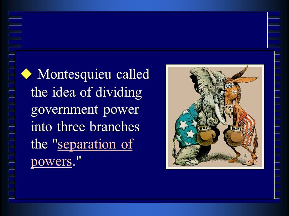 u Montesquieu called the idea of dividing government power into three branches the separation of powers.
