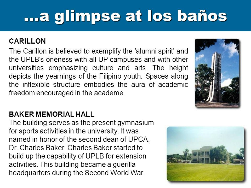 …a glimpse at los baños CARILLON The Carillon is believed to exemplify the 'alumni spirit' and the UPLB's oneness with all UP campuses and with other