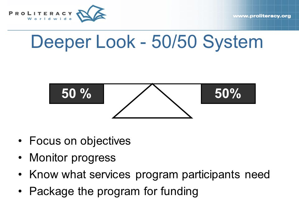 Deeper Look - 50/50 System Focus on objectives Monitor progress Know what services program participants need Package the program for funding 50 %
