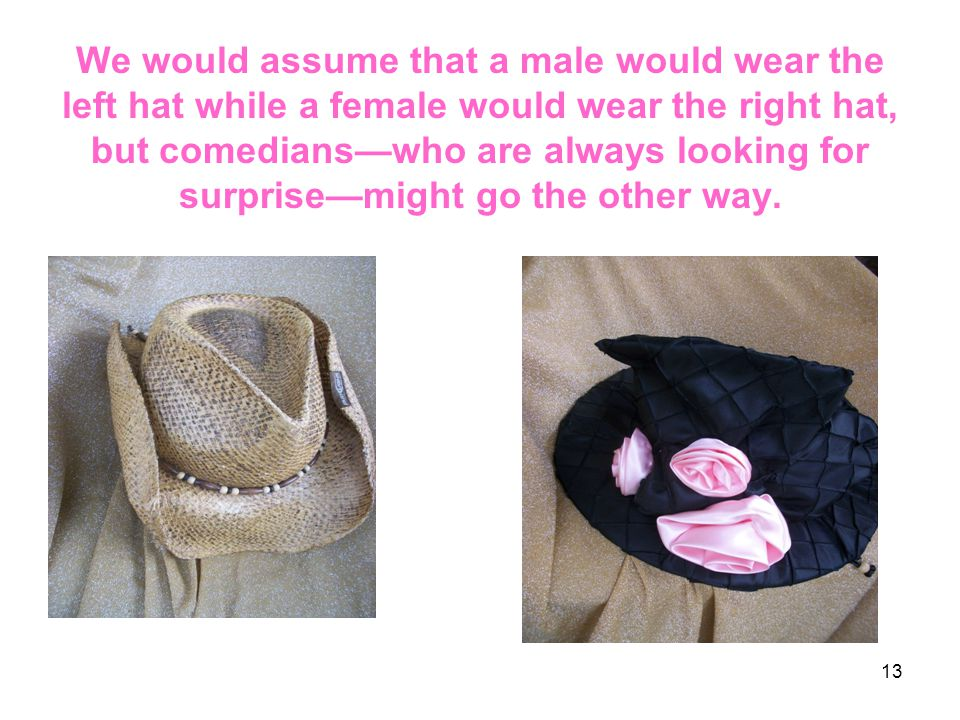 We would assume that a male would wear the left hat while a female would wear the right hat, but comedians—who are always looking for surprise—might g
