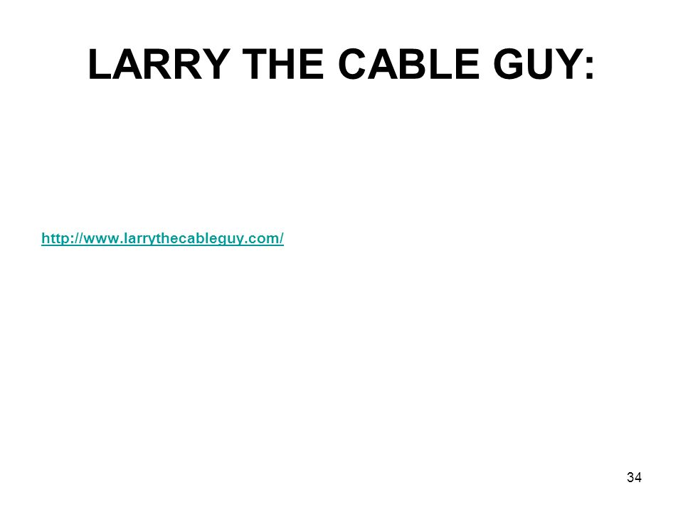 LARRY THE CABLE GUY: http://www.larrythecableguy.com/ 34