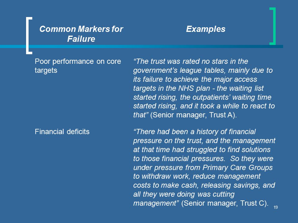19 Common Markers for Failure Examples Poor performance on core targets The trust was rated no stars in the government's league tables, mainly due to its failure to achieve the major access targets in the NHS plan - the waiting list started rising, the outpatients' waiting time started rising, and it took a while to react to that (Senior manager, Trust A).