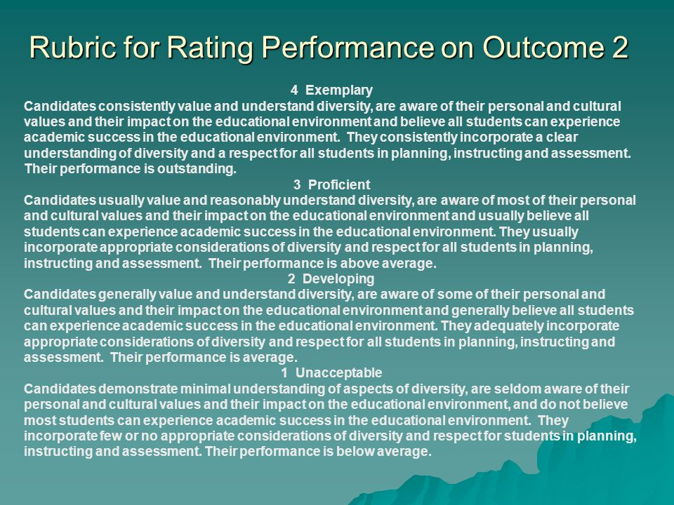 Rubric for Rating Performance on Outcome 2 4 Exemplary Candidates consistently value and understand diversity, are aware of their personal and cultural values and their impact on the educational environment and believe all students can experience academic success in the educational environment.