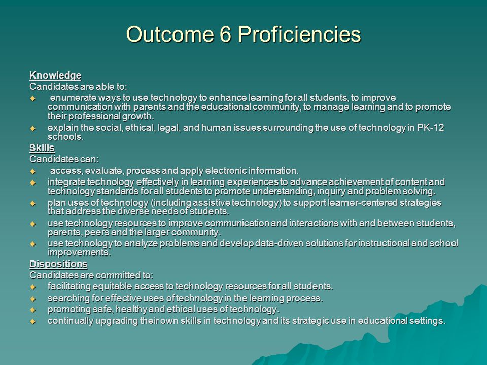 Outcome 6 Proficiencies Knowledge Candidates are able to:  enumerate ways to use technology to enhance learning for all students, to improve communication with parents and the educational community, to manage learning and to promote their professional growth.